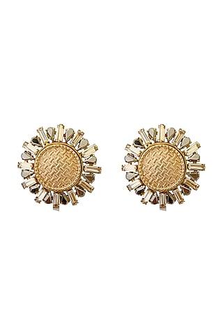 Gold Plated Swarovski Pearl & Crystal Earrings by Radhika Agrawal Jewels