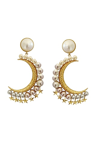 Gold Plated Earrings With Crystal by Radhika Agrawal Jewels