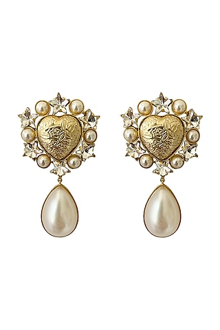 Gold Plated Earrings With Pearl by Radhika Agrawal Jewels
