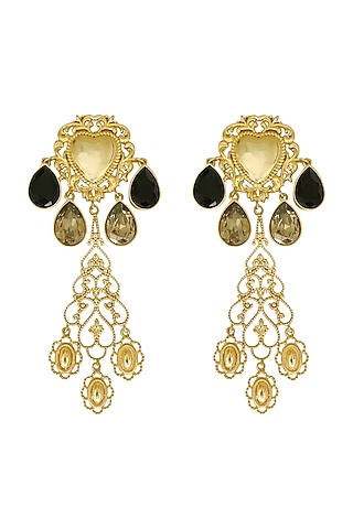 Gold Plated Earrings With Swarovski Pearl & Crystal by Radhika Agrawal Jewels