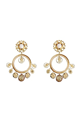 Gold Plated Earrings With Swarovski Pearl by Radhika Agrawal Jewels