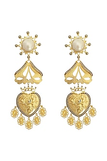 Gold Plated Earrings With Crystal & Pearl by Radhika Agrawal Jewels
