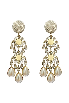 Gold Plated Earrings With Swarovski by Radhika Agrawal Jewels
