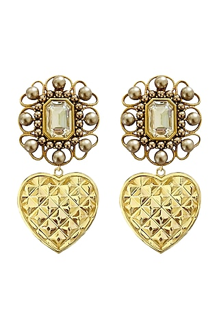 Gold Plated Earrings With Swarovski Pearls by Radhika Agrawal Jewels