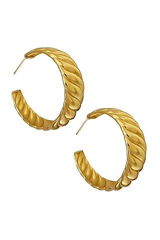Gold Plated Hoop Earrings In Brass by Radhika Agrawal Jewels