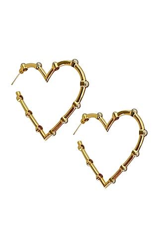 Gold Plated Pearl Heart Earrings by Radhika Agrawal Jewels