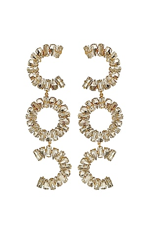 Gold Plated Brass Earrings by Radhika Agrawal Jewels