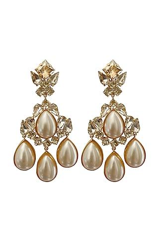 Gold Plated Pearl Earrings by Radhika Agrawal Jewels