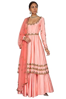 Pink Embroidered Anarkali Set With Belt by Ridhi Arora