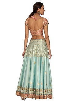Onion Pink & Mint Blue Embroidered Lehenga Set by Ridhi Arora