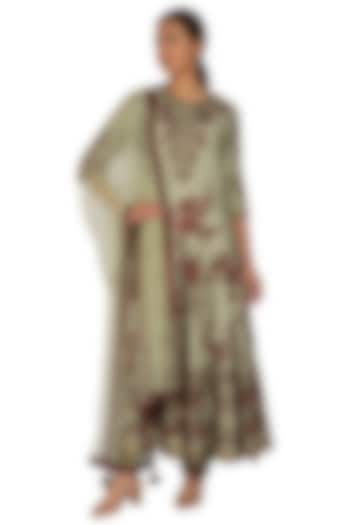 Olive Green Embroidered Anarkali Set by Ridhi Arora