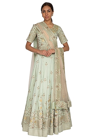 Mint Green Embroidered Lehenga Set by Ridhi Arora