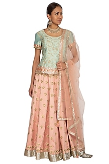 Mint Green & Peach Embroidered Lehenga Set by Ridhi Arora