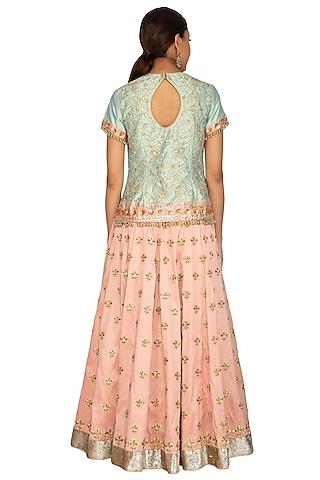 Mint Green & Peach Embroidered Lehenga Set by Ridhi Arora
