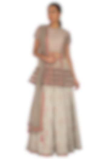 Grey Embroidered Lehenga Set by Ridhi Arora