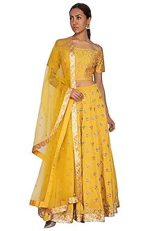 Canary Yellow Embroidered Lehenga Set by Ridhi Arora