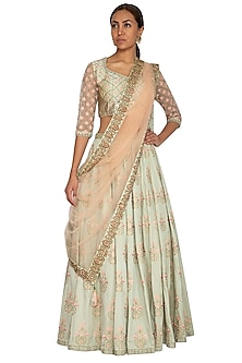 Mint Green Floral Embroidered Lehenga Set by Ridhi Arora-SHOP BY STYLE