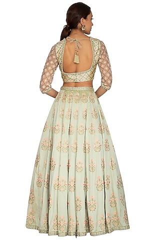 Mint Green Floral Embroidered Lehenga Set by Ridhi Arora