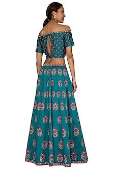 Teal & Wine Embroidered Lehenga Set by Ridhi Arora