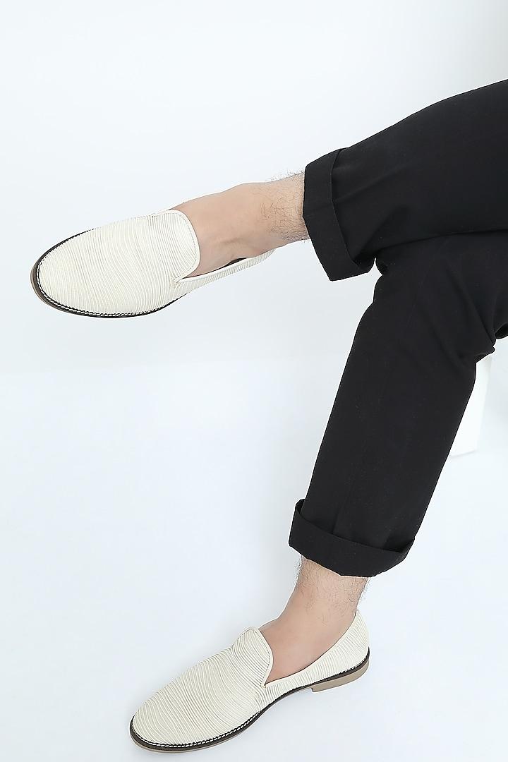 White Metallic Cord Loafers by Rimzim Dadu Men