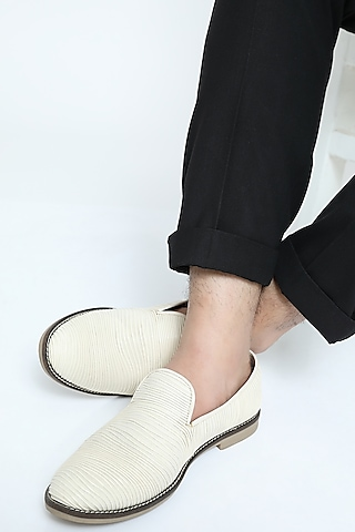 White Metallic Cord Loafers by Rimzim Dadu Men