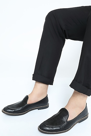 Black Metallic Cord Loafers by Rimzim Dadu Men
