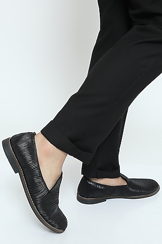 Black Metallic Yarn Loafers by Rimzim Dadu Men
