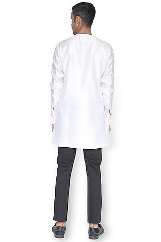 White Chiffon Cord Textured Kurta by Rimzim Dadu Men