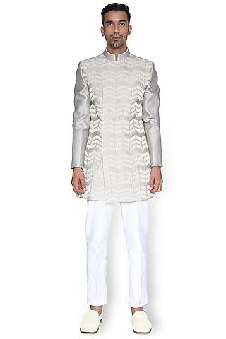 White Sherwani With Metallic Cords by Rimzim Dadu Men