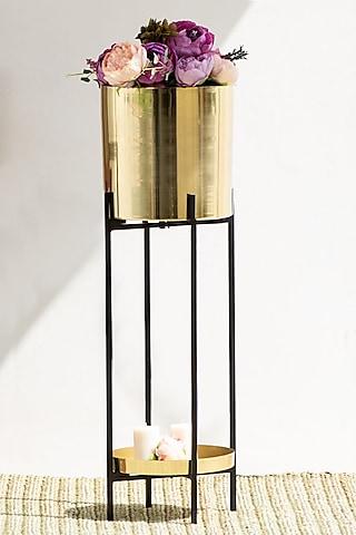 Handmade Shiny Gold & Black Iron Planter by The Decor Remedy