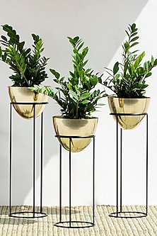Handmade Shiny Gold & Black Ovate Iron Planter (Set Of 3) by The Decor Remedy