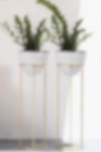 White & Gold Planters (Set of 2) by The Decor Remedy