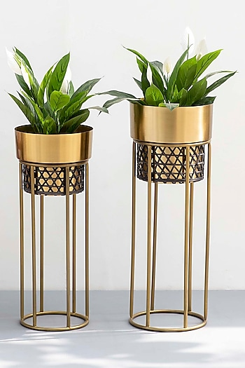 Gold & Black Planters (Set of 2) by The Decor Remedy