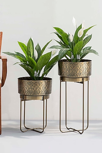 Antique Gold Planters (Set of 2) by The Decor Remedy