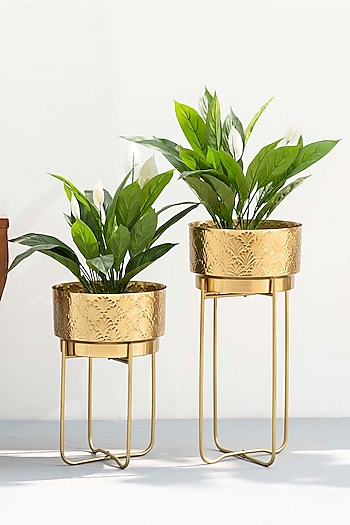 Yellow Gold Planters (Set of 2) by The Decor Remedy