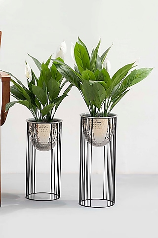 Shiny Metal Silver Planters (Set of 2) by The Decor Remedy