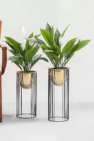 Shiny Metal Gold Planters (Set of 2) by The Decor Remedy