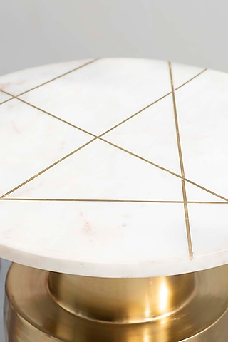 White & Gold Minimalist Table by The Decor Remedy