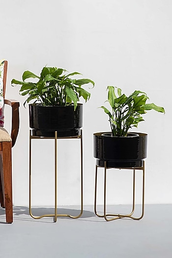 Black Enameled Planters (Set of 2) by The Decor Remedy