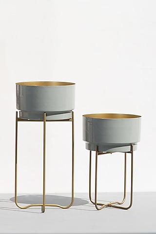 Grey Enemeled Planters (Set of 2) by The Decor Remedy