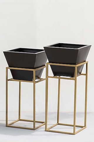 Grey & Gold Planters (Set of 2) by The Decor Remedy