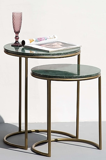 Jade Green & Gold Nesting Tables (Set of 2) by The Decor Remedy