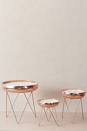Rose Gold Candle Stands (Set of 3) by The Decor Remedy