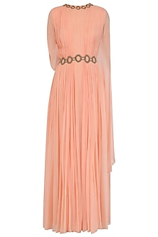 Sunset Peach Two Side Winged Sleeve Gown by Ridhi Arora