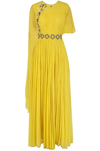 Canary Yellow Floral Embroidered Cape Gown by Ridhi Arora