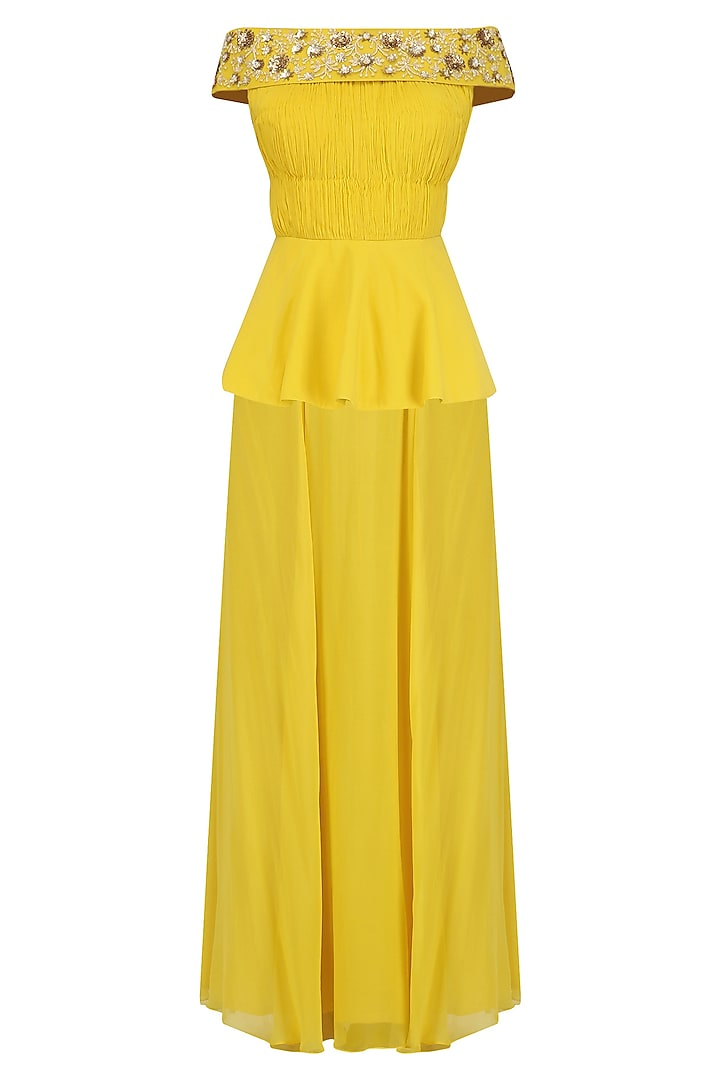 Canary Yellow Off Shoulder Peplum and Skirt Set by Ridhi Arora