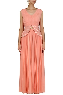 Sunset Peach Rouched Peplum and Skirt Set by Ridhi Arora