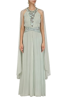 Sage Green Winged Sleeves Belted Gown by Ridhi Arora