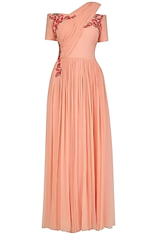 Sunset Peach Off Shoulder Floral Embroidered Gown by Ridhi Arora
