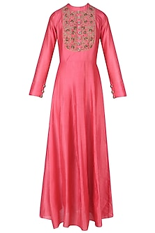 Carrot Pink Beads Embroidered Floor Length Gown by Ridhi Arora